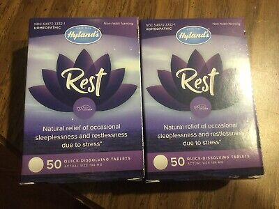 2x Hyland's Rest 50 Quick Dissolving Tablets Ea Natural Stress Relief