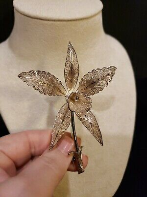 Antique Silver Plated INDONESIAN FILIGREE ORCHID Pin Brooch, DIMENSIONAL 3.75""