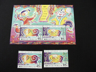 1995 Christmas Is- Year of the PIG - mini sheet + 45c & 85c stamps  MNH