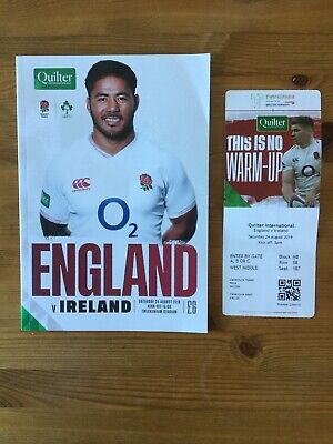 England v Ireland Rugby Programme and Ticket - August 2019 RWC Warm Up
