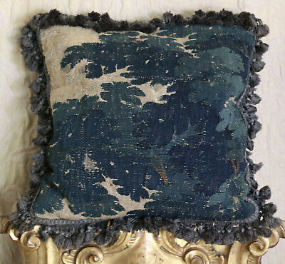 Antique Aubusson Tapestry Pillow C17th French Verdure Tapestry