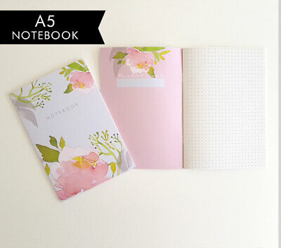 A5 Bullet Dot Grid Journal Inspirational Floral notebook Pink Peony Sustainable