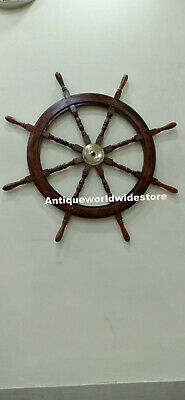 "Nautical Vintage 36"" Wooden Ship Wheel Boat Well Decor"
