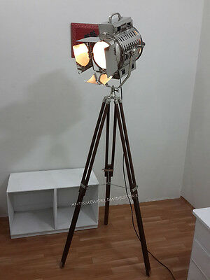 Vintage Search Light Lamp With Wooden Tripod Spot Light Chrome Lamp