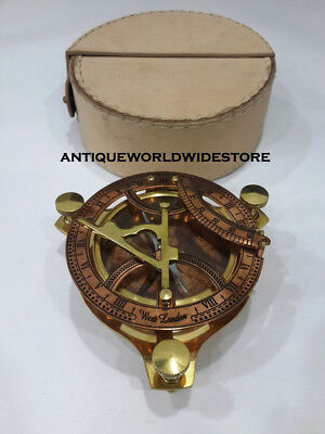 Copper and Brass Sundial Compass West London With Withe Leather Case