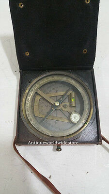 Kelvin & Hughes London 1917 -Antique Brass Brunton  Compass With Leather Box