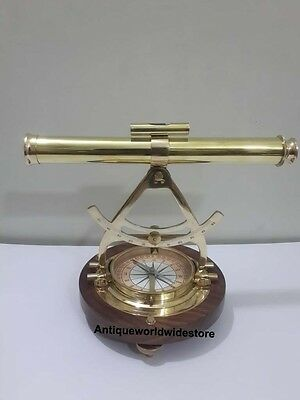 Alidade Telescope With Compass Nautical Brass Marine Collectible Office Decor