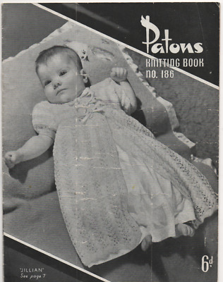 Vintage Knitting Book - Baby Patterns - Patons 186 - 1940s