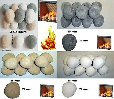 20 Gas Coals Fire Replacement Ceramic Universal Realistic Pebbles New for 2019