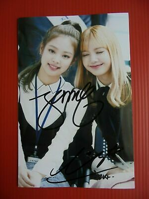 Black Pink BPINK KPOP Jennie Lisa Signed Combo Duo 4x6 Autographed USA SELLER 1