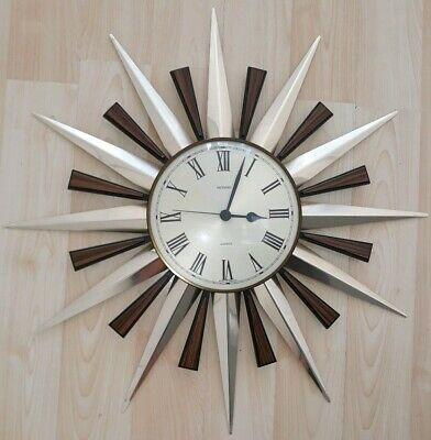 Vintage Retro Metamec Sunburst Wall Clock