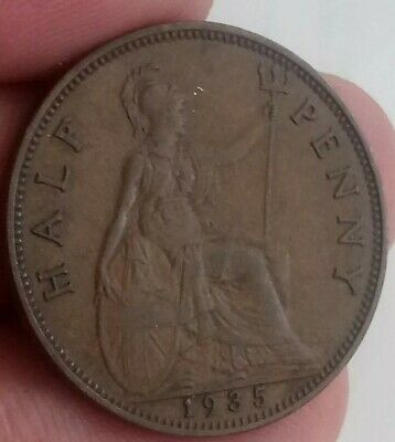 1935 British half penny 1/2 p PENCE George V collectable coin GL20-1