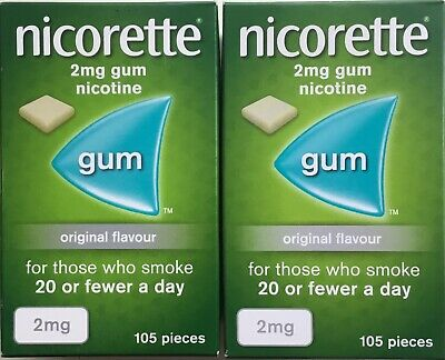 Nicorette Original 2mg Gum - 105 pieces 2X pack   (Genuine)