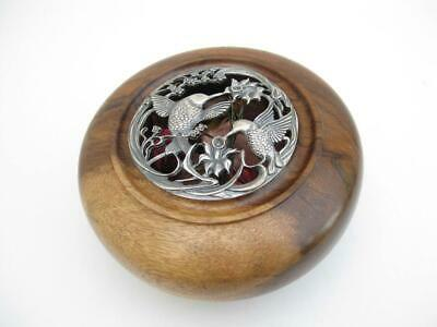 Wooden pot pourri bowl  Pierced pewter lid, intricately worked humming birds