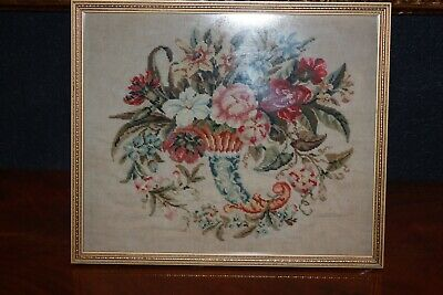 Antique Victorian Glass Framed Tapestry