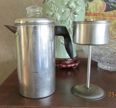 Vintage 8 Cup Stainless Steel Camp/ Stove Top Percolator Coffee Pot Glass Top