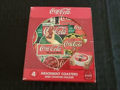 4 Coca Cola Absorbent Stoneware Coasters with Natural Cork Back