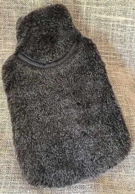 Hot Water Bottle With Soft Faux Fur Cover Brown