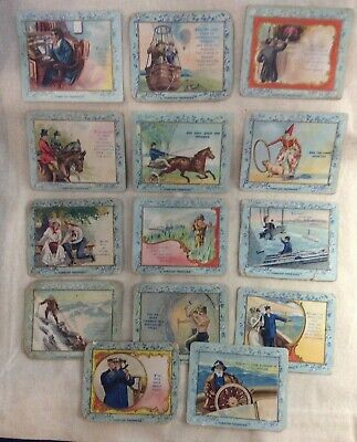 Lot of 14 Turkish Trophies Cigarette Cards Fortune Series 1920s Vintage