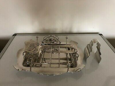 Very Nice Asparagus Tray, Stand And Two Sets Of Tongs All Silver Plated