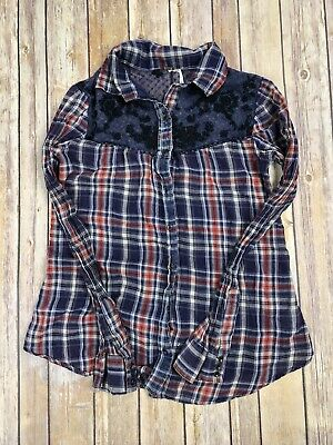 Free People Flannel Red Plaid Floral Button Down Long Sleeve Shirt Women's Small
