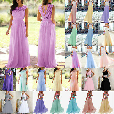 New Long Chiffon Lace Evening Formal Party Ball Gown Prom Bridesmaid Dress 6-22