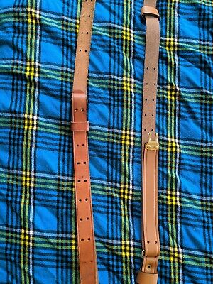 TWO WWII US M1 GARAND RIFLE LEATHER RIFLE CARRY SLING Used Missing Loop Repros