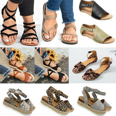 Womens Ladies Flatform Espadrille Sandals Wedge Ankle Buckle Open Toe Shoes Size