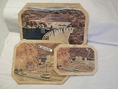 Boulder Dam Arizona - Nevada Set of 3 Cardboard Trivets c 1960