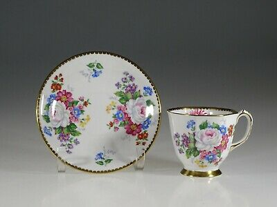 Royal Stafford White Roses and Pink Floral Demitasse Cup & Saucer,England