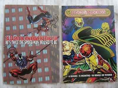 Marvel Checklists, Hands Of The Mandarin, 2 Trading Cards, Clone Spiderman, 1994
