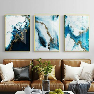 Nordic Abstract Spalsh Blue Golden Canvas Painting Poster and Print Wall Picture