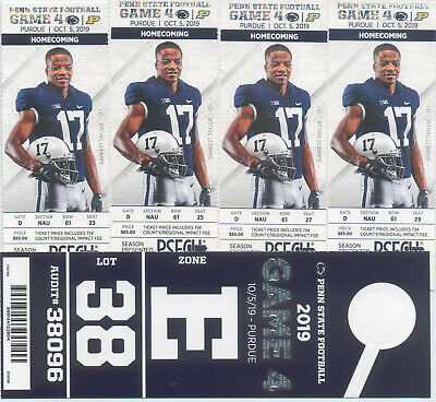 4 Penn State vs. Purdue football tickets 10/5/2019 with parking pass
