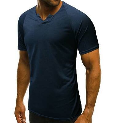 T shirts summer slim fit short sleeve blouse men's v neck tops casual muscle tee