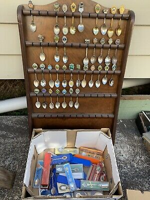 Vintage Collectable Souvenir Spoon Rack Display With 64 Spoons