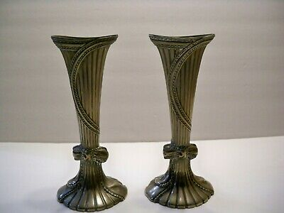 "Vintage Art Nouveau/Deco Silver Plated Vase Set 7 1/2"" Tall"
