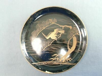 Antique Japanese Lacquer ware Plate Gold 7in Hawk Pine tree Wooden Makie LP10