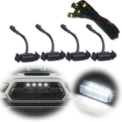 Smoke Bright White LED Lighting Lamps Kit For 2016-up Toyota Tacoma Front Grille
