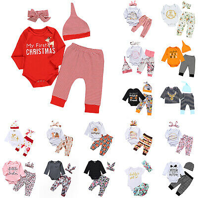 Cute Newborn Toddler Baby Boy Girl Romper Bodysuit Jumpsuit Pants Outfit Clothes