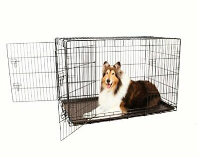 Secure and Compact Double Door Metal Dog Crate, Extra Large with Divider Panel