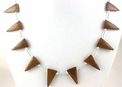 Faceted Triangle shape  Natural Mookite Agate Gemstone 13x21.5-14x25.5 MM Beads