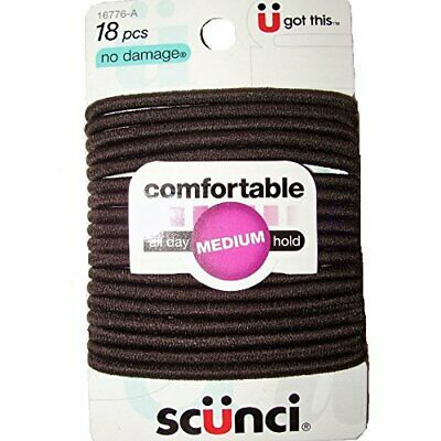 Scunci Comfortable All Day Medium Hold, Black 18 ea (Pack of 8)