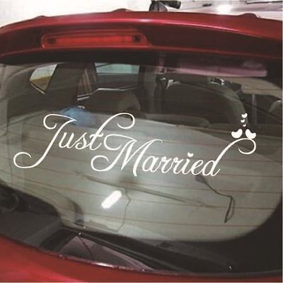 Just Married White Wedding Car Cling Decal Sticker Window Banner Decor AM5
