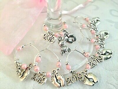 '2019' Baby Shower Wine Glass Charms 6 - 10 +1 Blue/Pink/Ivory/Lmn/White Favours