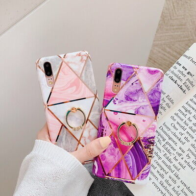 Ring Holder Plating IMD Soft Case Cover For Huawei P20 P30 Lite Mate 20 Pro Lite