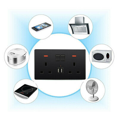 Double Wall UK Plug Socket 2 Gang 13A with 2 USB Charger Port Outlet Plate Black
