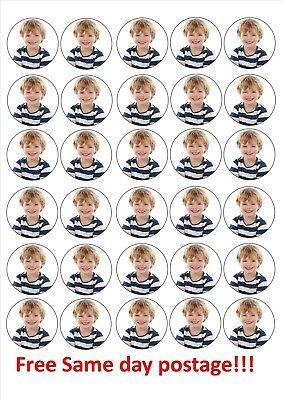 """15 or 30 personalised photo cupcake toppers icing/wafer paper can be precut 1.5"""""""