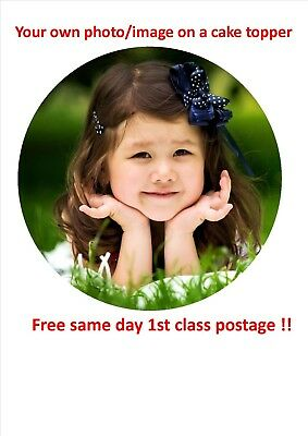 """personalised photo cake topper icing/wafer paper pre cut available! 6/7/7.5/8"""""""