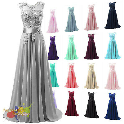 Long Bridesmaid Dress Party Ball Evening Wedding Gown Applique Prom Dresses