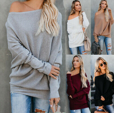 Womens Off Shoulder Sweater Ladies Long Sleeve Baggy Jumper Pullover Tops Size